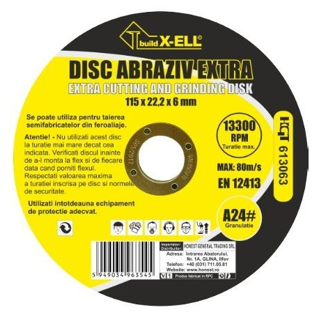 Disc Abraziv BuildXell A24 Extra Buildxell - Diametru: 125mm Latime: 6 mm