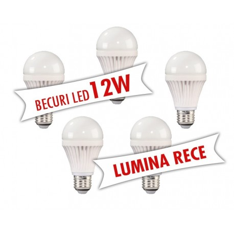 Set 5 bucati - Becuri LED 12W ( Lumina rece )