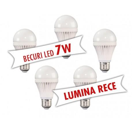 Set 5 bucati - Becuri LED 7W ( Lumina rece )
