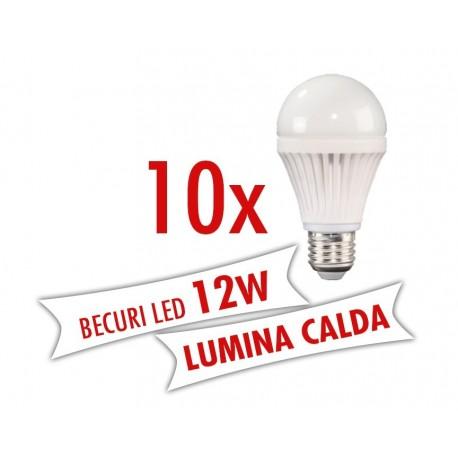 Set 10 bucati - Becuri LED 12W E27 ( Lumina calda )