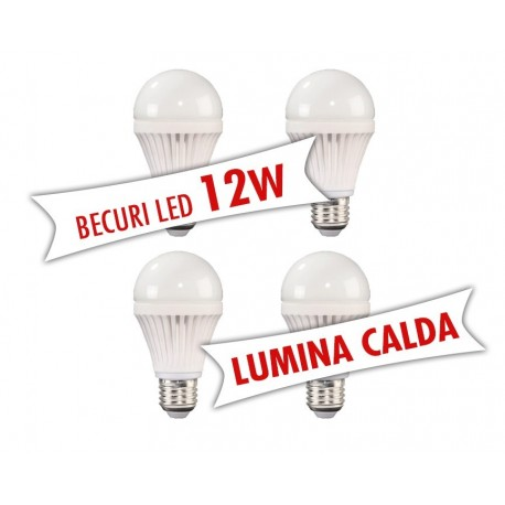 Set 4 bucati - Becuri LED 12W ( Lumina calda )