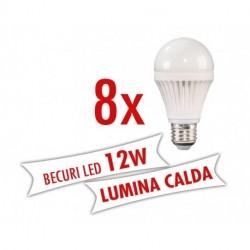 Set 8 bucati - Becuri LED 12W E27 ( Lumina calda )