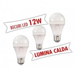 Set 3 bucati - Becuri LED 12W E27 ( Lumina calda )
