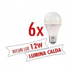 Set 6 bucati - Becuri LED 12W E27 ( Lumina calda )