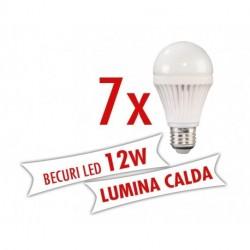 Set 7 bucati - Becuri LED 12W E27 ( Lumina calda )