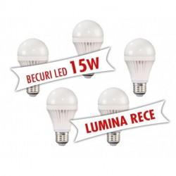 Set 5 bucati - Becuri LED 15W ( Lumina rece )