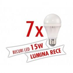 Set 7 bucati - Becuri LED 15W ( Lumina rece )