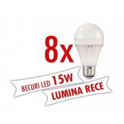 Set 8 bucati - Becuri LED 15W ( Lumina rece )