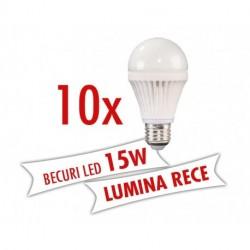 Set 10 bucati - Becuri LED 15W ( Lumina rece )